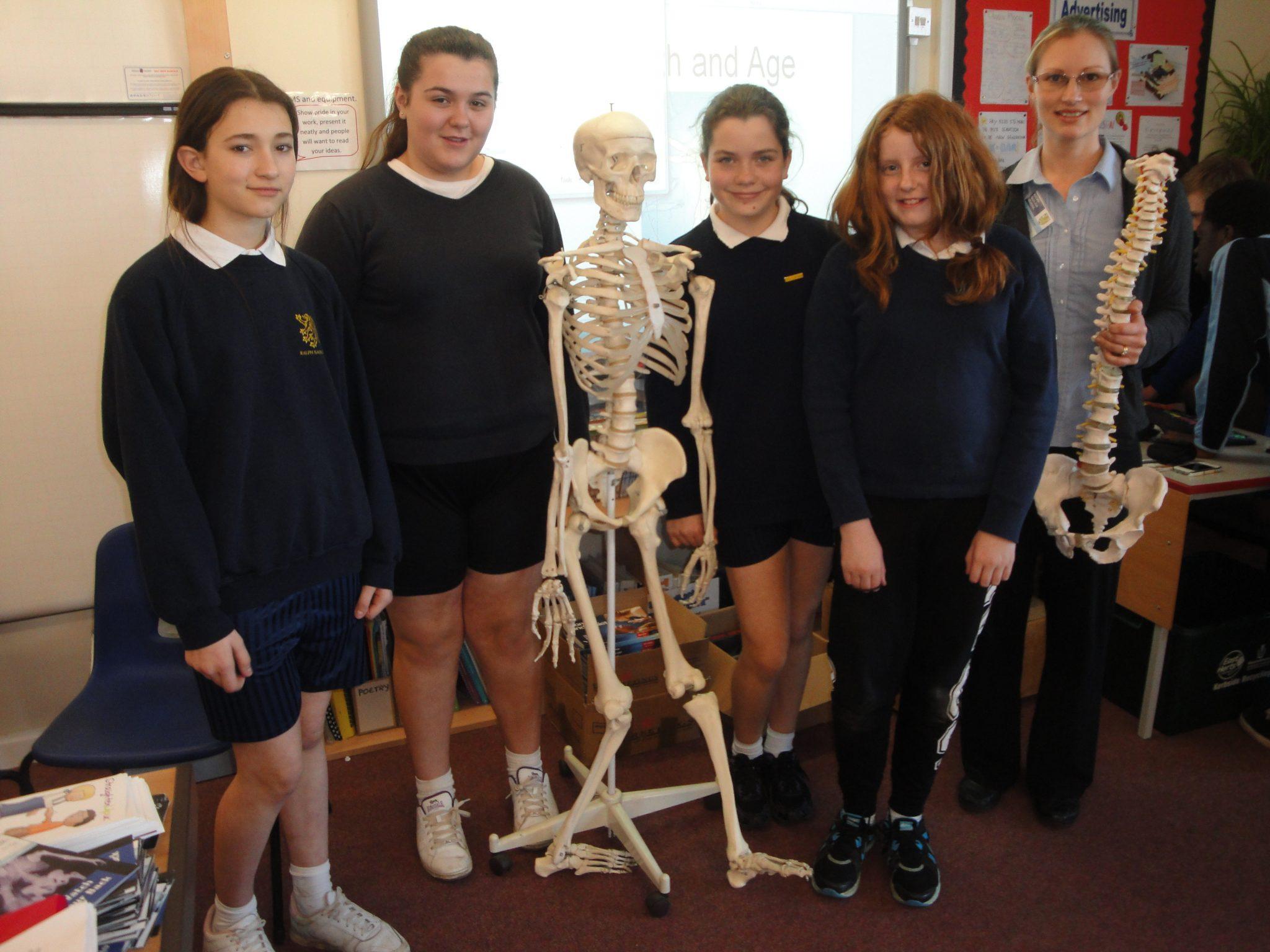 Louise Hampton with pupils from Ralph Sadleir School